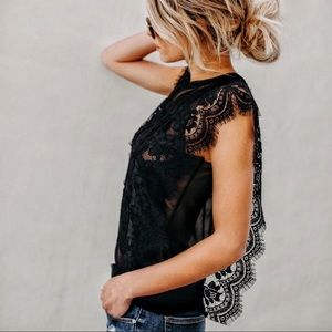 Tops - Black Butterfly Lace Trim Lace Sleeve Top